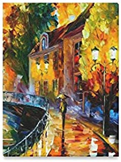 Walk a rainy night Oil Painting Framed Canvas Prints Wall Art For Wall And Home Decor,12x16 Inches