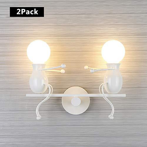 ZRWZZ Moderne wandlamp, Slide Little Man wandlamp, E27 lampenkop 2 lichtbronnen verlichting wandverlichting, geschikt voor kinderkamer wandmontage lamp gang [energieklasse A +]