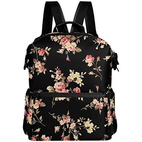 Oarencol Vintage Blumen-Rucksack, Rosa, Blumen-Design, Retro-Stil, für Schule, Reisen, Wandern, Camping, Laptop, Tagesrucksack
