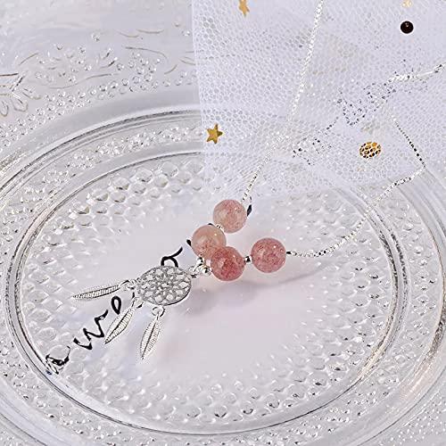 QiuYueShangMao Pulsera de la Amistad Pulseras Colgantes de atrapasueños de Cristal de Fresa Natural Pulseras de Cadena Simple de Moda para Mujer Pulsera de Pareja Regalos para Esposa, Madre y Novia.