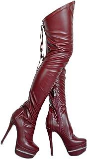 [Kolnoo] 女性のハイヒールブーツ靴ひもオーバーニーセクシーなブーツプラットフォームウェディングパーティーファッション太もも高冬ブーツシューズ