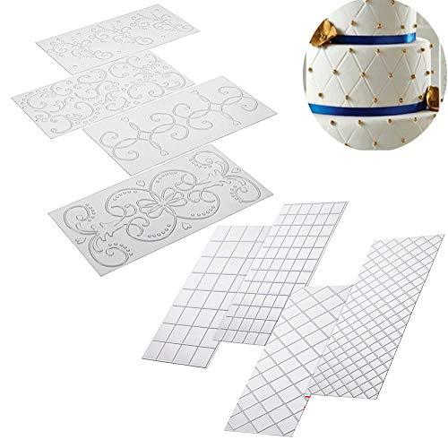 ysister 8 Piezas Molde Silicona, moldes de Silicona rectangulares Pastel de Galletas Decoración gomosa para decoración de Pasteles Efecto de Encaje 3D Fondant Patrón clásico, Patrón de Encaje