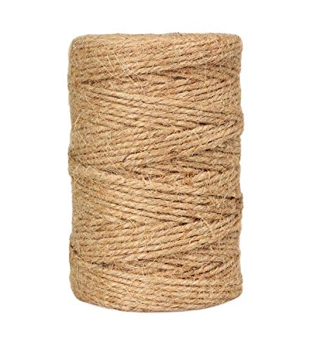 Natural Jute Twine String Rolls - 328 Feet, Durable Brown Twine Rope for Crafts, Wrapping, Packing, Gardening, Artworks, Picture Display, Recycling, and Wedding Decor (3 mm, 1 Pack)