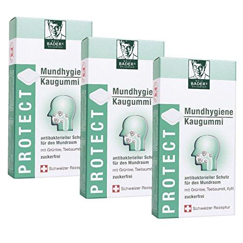 BADERs de la farmacia. Los chicles de higiene bucal. Protección antibacteriana para la boca con aceite de árbol de té, té verde y xilitol. 3 x 16 cuadrados de goma de mascar