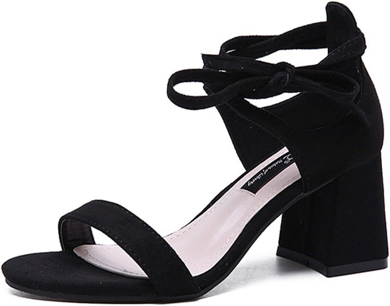 Matari Women's Chunky Heels Breathable Lace up High Heel Sandals