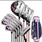 AYES Juego completo de palos de golf para mujer con palos de golf y bolsa de soporte para mujeres y principiantes (12 ejes de acero paquete estándar)