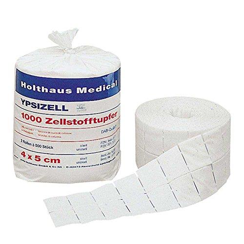 Holthaus Medical Zellstofftupfer YPSIZELL, Tupfer Zelletten Pads Rollen, 4x5cm, 2x 500St