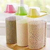 Caja de almacenamiento de alimentos, contenedor de plástico transparente, caja de almacenamiento de alimentos secos con tapa para cereales, arroz, pasta, granos de 1,9 l