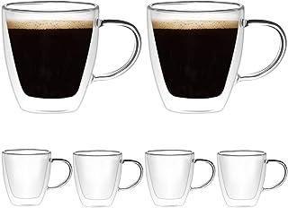 [6-Pack, 160ml/5.4 oz] DESIGN•MASTER - Tasses à espresso de première qualité, en verre isolant à double paroi avec poigné...