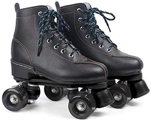 Lloow Männer und Frauen Roller Skates zweireihig Roller Skates Einstellbare Hoch-Spitze Rollschuhe,44
