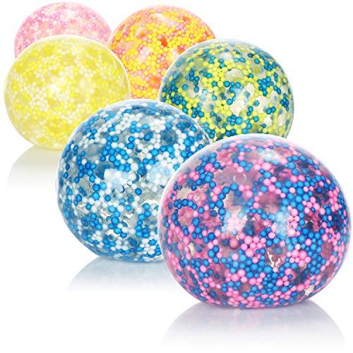 com-four® 6X Anti-Stressball - Squeeze-Ball zum Stressabbau und Spielen - Quetschball mit bunten Kügelchen [Auswahl variiert] (06 Stück - Ø 5cm bunt)
