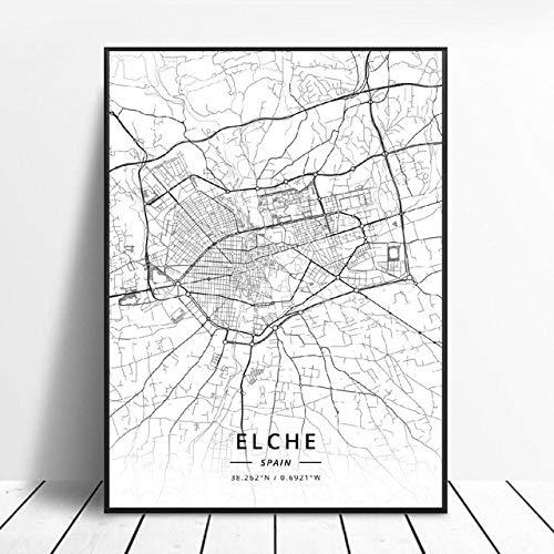 shuimanjinshan Elche Pamplona Vitoria-Gasteiz Madrid Albacete Santander Oviedo España Lienzo Arte Mapa Cartel 50X70Cm No Frame W-94