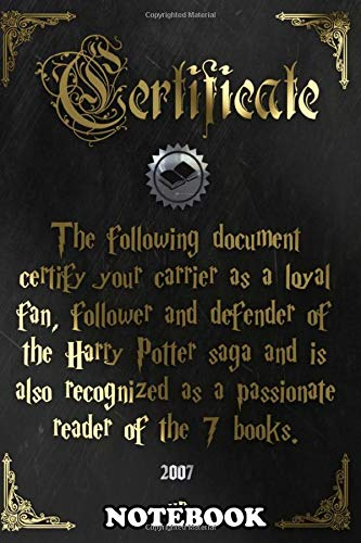Notebook: Certificate Hp Books , Journal for Writing, College Ruled Size 6