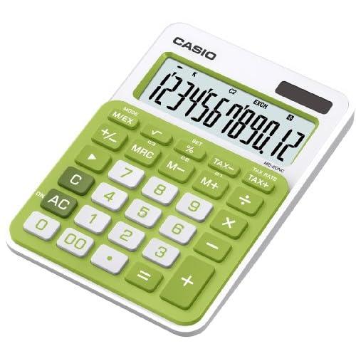 Casio MS-20NC-GN Calcolatrice da Tavolo, Display a 12 Cifre, Bianco/Verde