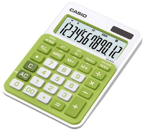 Casio MS-20NC-GN - Calculadora básica (con panel solar y batería, 22 x 104.5 x 149.5 mm), color verde