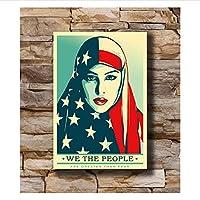 Qwgykr 私たち人々マーチトランプ抗議イスラム教徒の女性シルクポスターアートLwキャンバスプリント装飾-16X24インチX1フレームなし