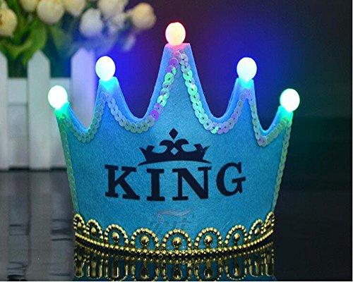OFT Prinzessin / Prinz Königskrone Krone Diadem Tiara Geburtstag Kopfschmuck mit Led Lampe für Kinder (blau King)