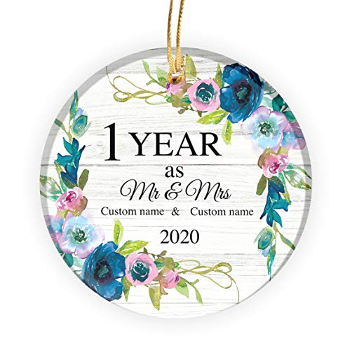 Larvincy 1 Year As Mr & Mrs 2020 2020 Personalized Christmas Ornament - Custom Ceramic Merry Xmas Tree Hanging Decoration - 3 inch Pottery Circle Printed Home Decor Gift