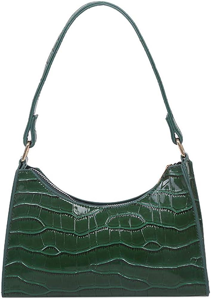 PU Alligator Pattern Underarm Bag Ladies Vintage Solid Color Zipper Handbag Retro Classic Clutch Shoulder Bag