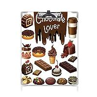 カスタム クリップボード クリップファイル キッチンの装飾 事務用品の文房具 (2個)チョコレート恋人お菓子ケーキ装飾パターンアイスクリームレトロスタイルデザインカフェホームブラウンホワイト