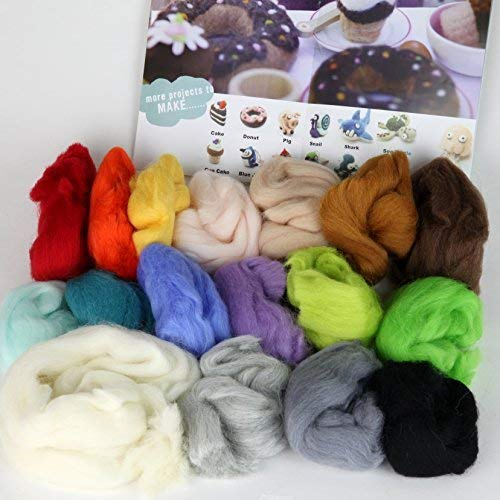 Woolbuddy Needle Felting Kit, Felting Kit for Beginners Adult and Kids, 17 Vibrant Colored Handmade Felting Wool, 6 Felting Needles, Felting Pad with Photo Booklet, for Arts and Crafts Activity