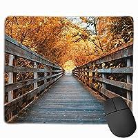 秋の木製の橋 マウスパッド ゲーミングマウスパッド ラップトップマット pcマウスパッド リストレスト ラバーマット 滑り止め 耐久性 高級感 25*30