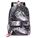 Mochila de Ocio para Estudiantes de Hogwarts, Mochila Harry Potter Grey Starry Sky, con Mochila de Interfaz de Carga USB Style-9