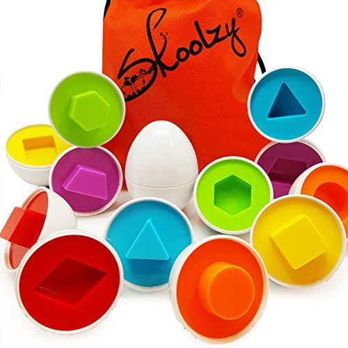 Skoolzy Egg Toy - Shapes Matching Eggs STEM Toddler Toys for 1, 2, 3, 4 Year olds - Learning Colors Preschool Puzzles Games - Montessori Fine Motor Skills Sorting Educational Easter Eggs with Bag