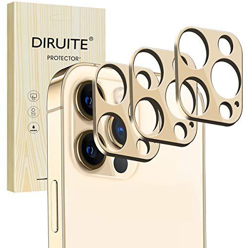 Diruite 3-Stück für iPhone 12 Pro Max Kamera Schutzfolie,Metall kameraschutz kratzfest Geeignet für iPhone 12 Pro Max(6,7 Zoll)-Golden