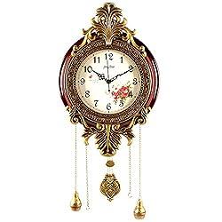 Aero Snail Large Size Retro Vintage Imperial Style Elegant Silent Wood Metal Wall Clock with Swinging Pendulum