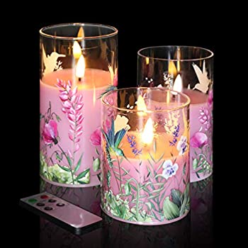 Eywamage Pink Floral Glass Flameless Candles with Remote 3 Pack Flickering LED Battery Candles Gift Set D 3  H 4  5  6  Unscented Real Wax
