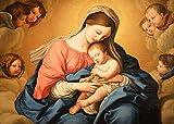 JH Lacrocon Sassoferrato (Giovanni Battista Salvi) Cuadros Barroco Italiano 90X65 cm Impresiones Pinturas sobre Lienzo sin Marco - Virgen niño ángeles