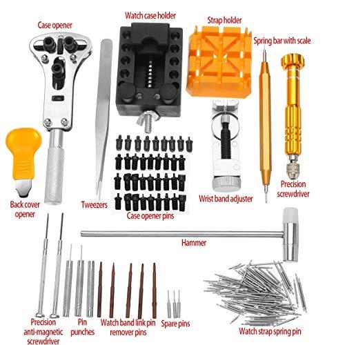 Conjunto de reparaciones profesionales Abridor removedor del Pin de barra del resorte Conjunto relojero 148Pcs Conjunto de herramienta de la reparación del reloj del reloj del kit de reparación