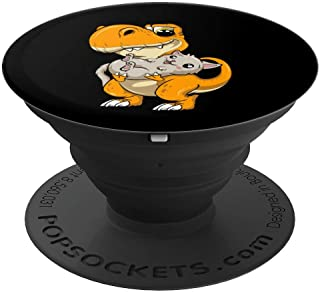 Kawaii Cat Dinosaur Kitten T Rex Cute Dino Holding a Kitty PopSockets Grip and Stand for Phones and Tablets