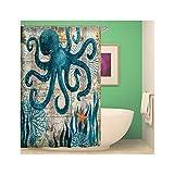 AnazoZ Duschvorhang 3D-Effekt Wasserdicht, Anti Schimmel, Umweltfre&lich Waschbar mit 12 Duschvorhangringen Polyester Bad Vorhang für Badezimmer Badewanne - Krake 175 x 180 cm