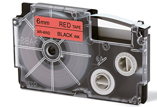 CASIO EZ-Label Printer XR-6RD1 Schriftband selbsthaftend 6 mm x 8,0 m schwarz auf rot