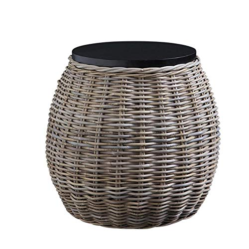 WSG Barrel Rattan Side Table with Removable Black wood Top 48 cm Height