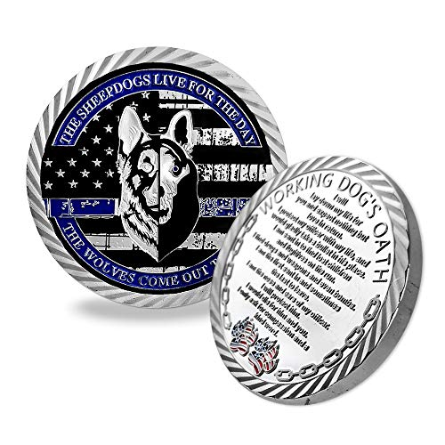 Indeep Police Dog K9 Challenge Coin Thin Blue Line Police Officer Canine Prayer Coins Gift