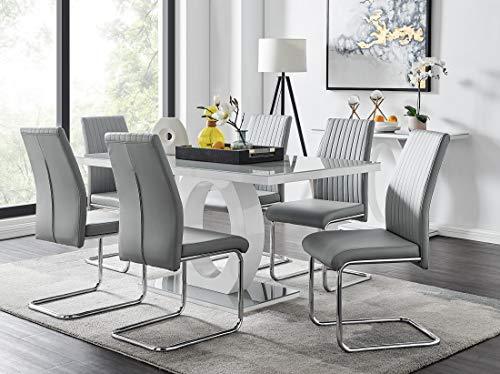 Giovani Modern Stylish Grey/White High Gloss Glass Dining Table and 6 Modern Lorenzo Chairs Set (Dining Table + 6 Elephant Grey Lorenzo Chairs)