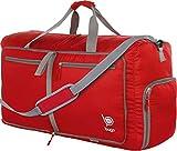 Bago 60L Sports & Travel Duffle Bag - Foldable Weekender Bag For Women & Men - Lightweight waterproof Shoe Pocket (Red)