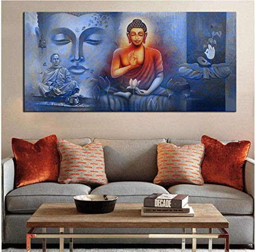 Poster Großformat Druck Gemälde Wandmalerei Buddha Poster Wandkunst Bild für Wohnzimmer Malerei Dekor 60X120Cm