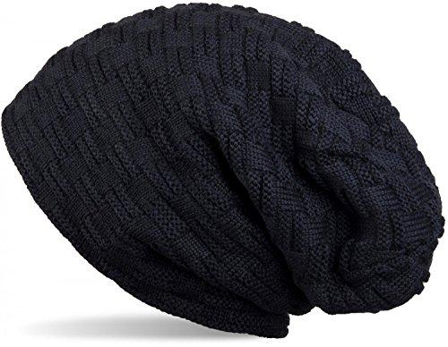 styleBREAKER warme Feinstrick Beanie Mütze mit Flecht Muster und sehr weichem Fleece Innenfutter, Unisex 04024058, Farbe:Midnight-Blue