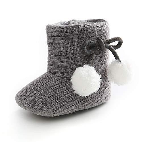 LACOFIA Baby Mädchen Weicher Sohle Winterstiefel Kleinkind Wärme Fleece Klettverschluss Hausschuhe Krabbelschuhe Grau 6-12 Monate