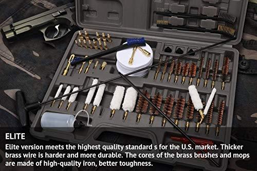 Gun Cleaning Kit Elite Designed, Rifle Handgun Shotgun Pistol Cleaning Kit with All Brass High-end Brushes, Mops, Jags, Reinforced and Lengthened Rods Guns