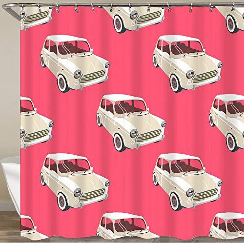 KGSPK Duschvorhang,Autos Hintergr& Retro Auto Vektor,Wasserfeste Bad Vorhang aus Polyestergewebe mit 12 Haken Duschvorhang 180x180cm