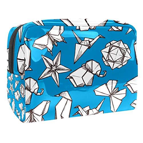 Neceser Viaje Hombre y Mujer Origami Estrella Mariposa Pequeño Bolsas de Aseo Impermeable, Neceser Maquillaje Pack Neceser Baño Toiletry Kit, Cosmético Organizadores de Viaje 18.5x7.5x13cm