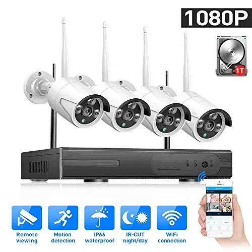 Toupifama HD 1080P draadloos bewakingscamerasysteem, nachtzicht, draadloze binnen- en buiten-IP-camera met intelligent alarm, 1 TB harde schijf vooraf geïnstalleerd