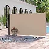 Abba Patio Retractable Folding Side Awning Fence Divider with Steel Pole Sun Shade and Wind Screen for Privacy, 5.2' H, Beige