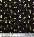 Soimoi Schwarz Schweres Canvas Stoff gelbe Blume & Dots