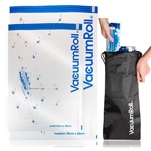 Vacuümzakken voor het rollen met de hand 12 stuks + 1 nylon pakzak transparant met vliegradarmotief, vacuüm compressiezak reizen, ruimtebesparend inpakken voor kleding, dekens, camping, backpacking